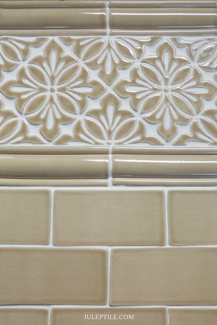 Shown Above: Cobham Handmade Tile Border With Scalloped Chair Rail Trim U0026  Handmade Subway Tile All In Light Brown Watercolor